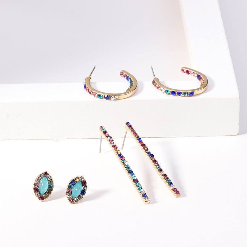 Womens Round Alloy Color Rhinestone Earrings NHNZ122139