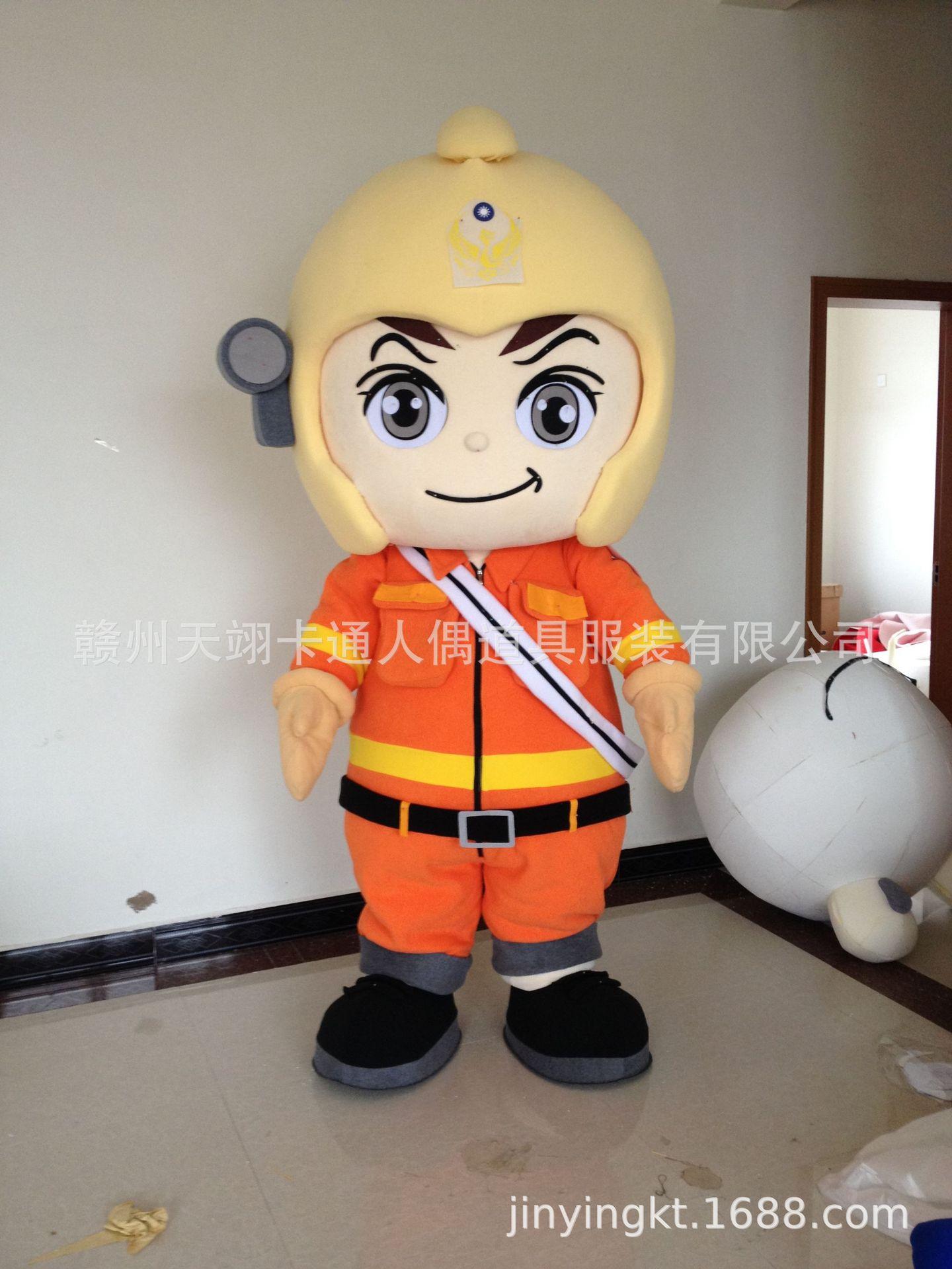 定制卡通人物服装制作人偶服饰行走玩偶大头娃娃出口版消防员