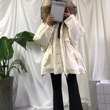19年韩国东大门短款宽松加厚白色超大貂毛领子连帽保暖羽绒服外套