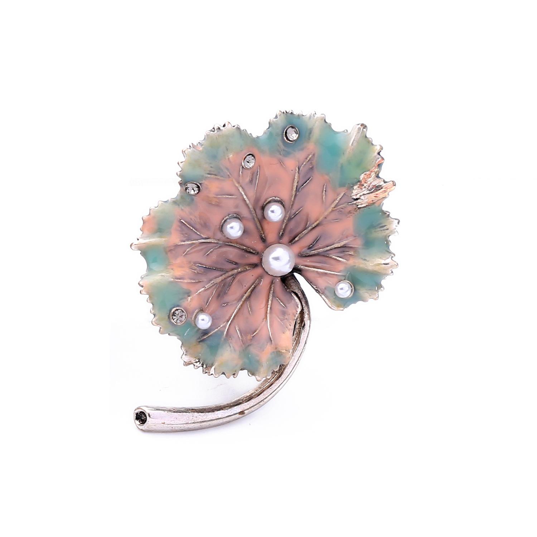 Vintage style  drop oil leaf beads brooch NHQD142466