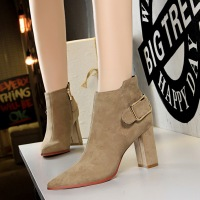 803-1 European and American fashion sexy thin and nude boots thick heel high suede pointed metal belt buckle women's short boots