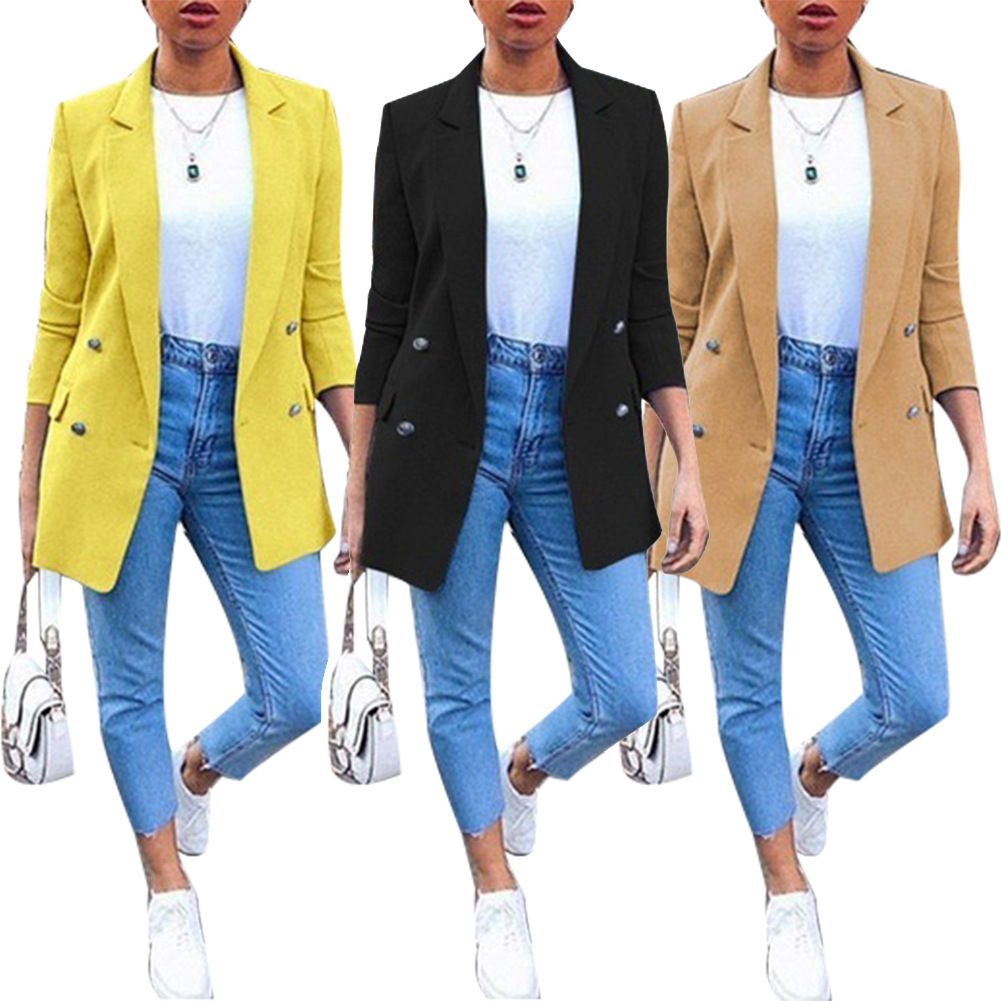 women s lapel mid-length suit jacket nihaostyles clothing wholesale NSBTY74091
