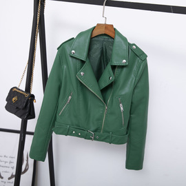 spring new classic lapel short belt women's PU leather simple leather jacket Haining motorcycle jacket