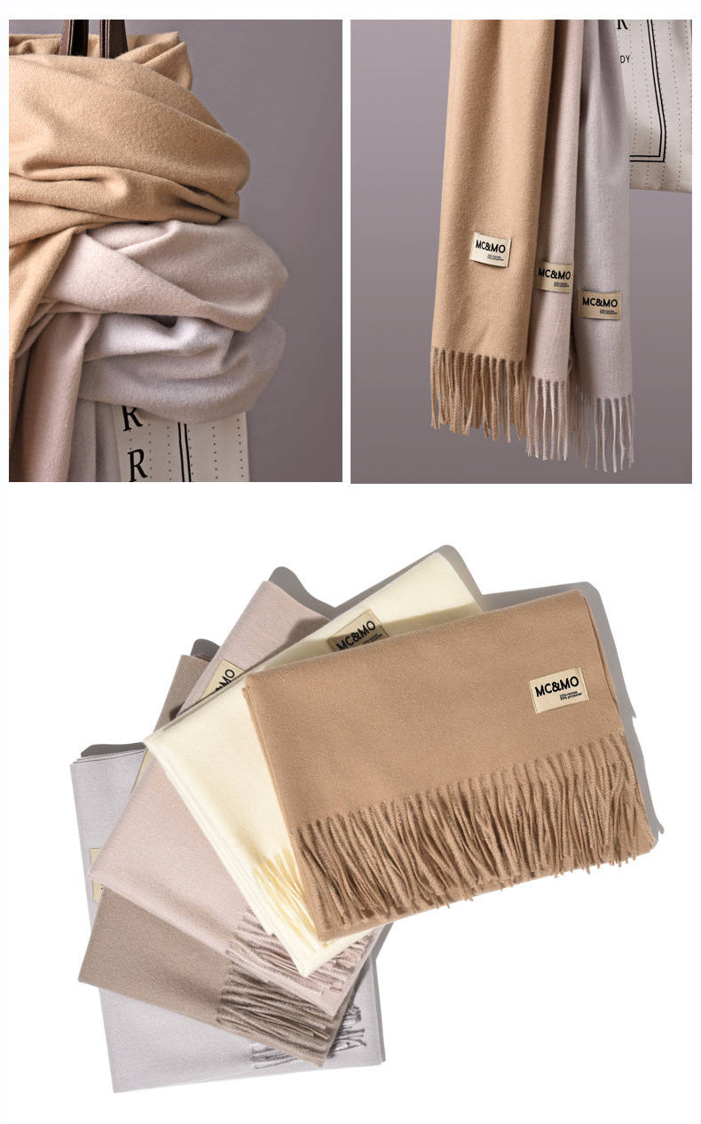 Autumn and winter wild Korean long warm shawl solid color collar NHTZ154977