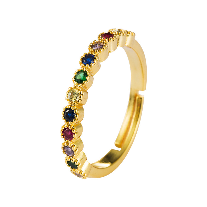 Copper plated 18K gold micro-inlaid rainbow zircon ring female ins jewelry opening adjustable NHLN175562