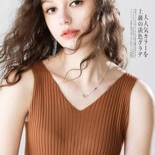时尚女装新款亚麻吊带衫 ?#21487;?#24615;感V领内搭抽条修身针织小背心2019