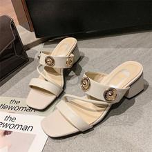 欧美拖鞋女夏时尚外穿百搭粗跟真皮一字带露趾简约高跟气质凉鞋女