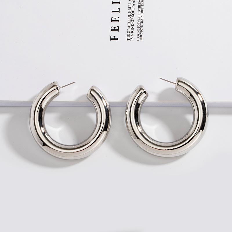 minimalist fashion trend fashion metal C-shaped punk retro earrings for women NHAI245782