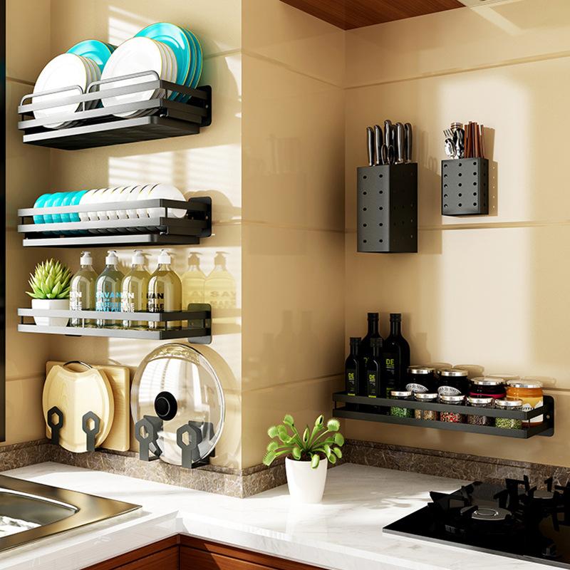 黑色厨房置物架挂壁式挂免打孔锅盖刀菜板碗碟筷餐具收纳调味料架