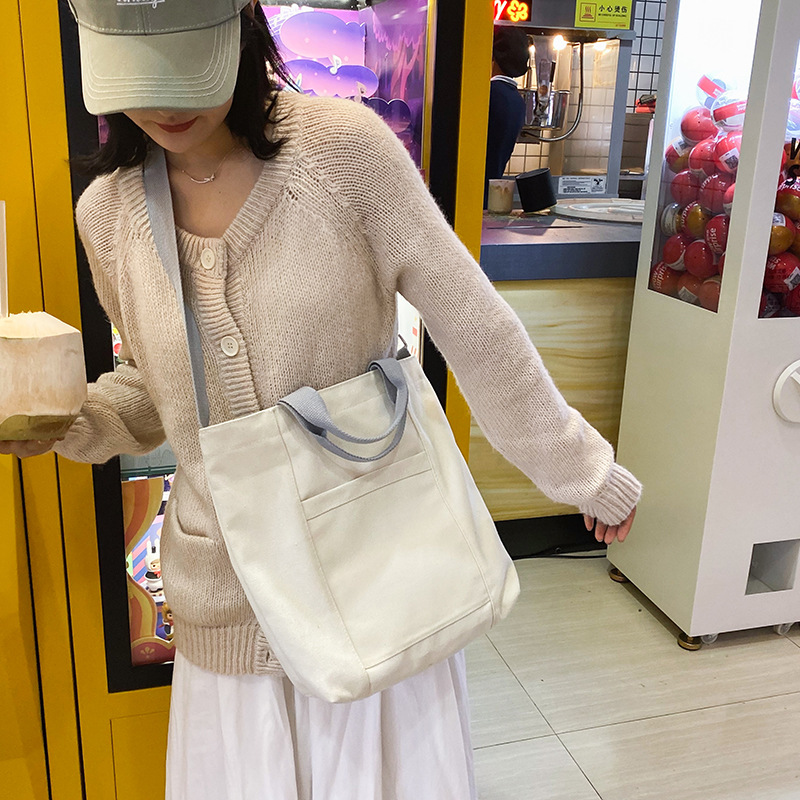 Simple solid color student class canvas shoulder bag NHHX157994