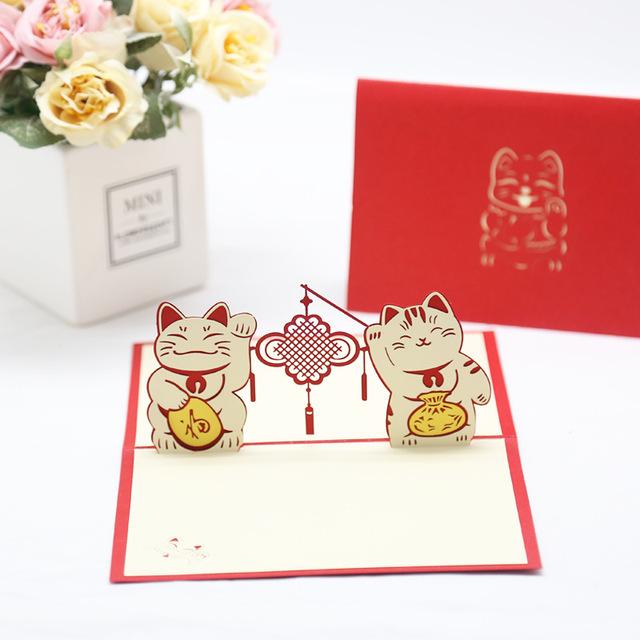 厂家供应创意招财猫新年立体贺卡手工diy纸雕企业年会定制贺卡