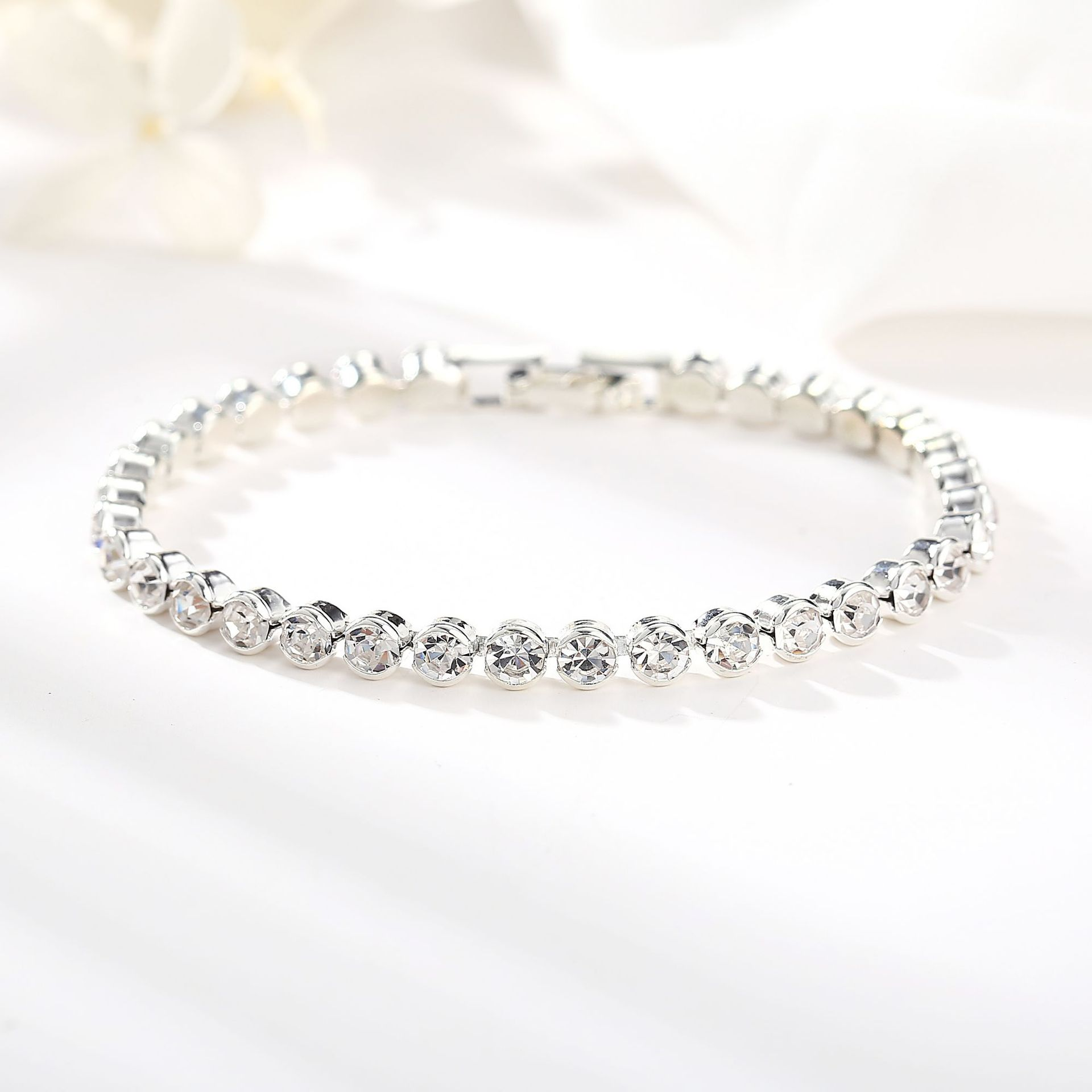 Full Rhinestone Single Row Bracelet Roman Imitated crystal Simply Studded NHPJ128260