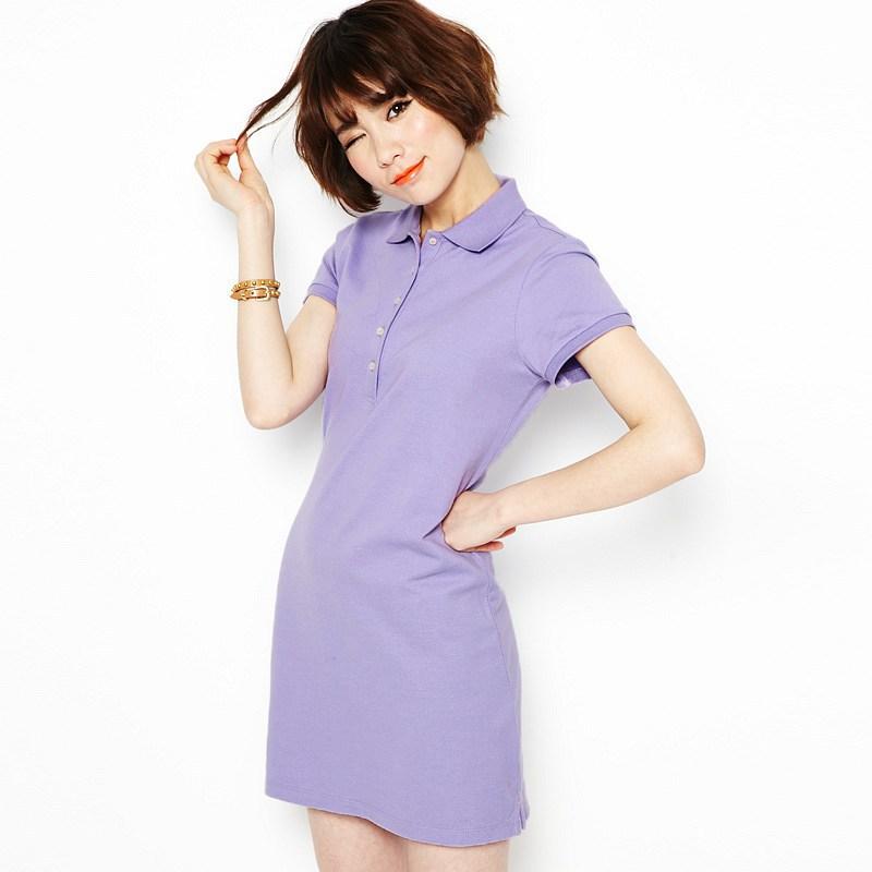 夏装韩国素色短袖 修身中长款polo衫女款精梳棉翻领t恤运动连衣裙