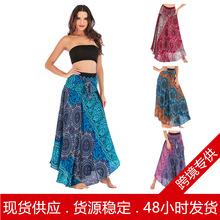 跨境爆款休闲泰国欧美连衣裙半身裙沙滩度假裙两穿大摆裙肚皮舞