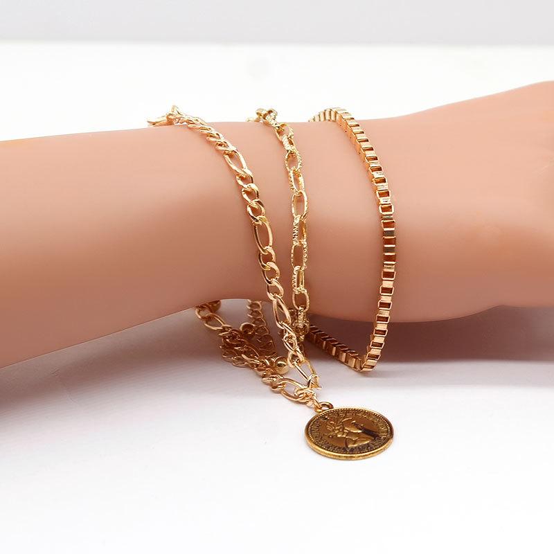 时尚新品项饰 欧美金属色蚀刻环扣圆形吊坠手链三条组女XL472