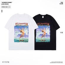 2019歐美潮牌夏季新款男裝T恤圓領復古 齊柏林飛艇樂隊衣服男