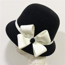 帽?#20248;?#31179;冬毛呢帽圆顶小礼帽英伦复古小香风时装帽时尚百搭盆帽潮