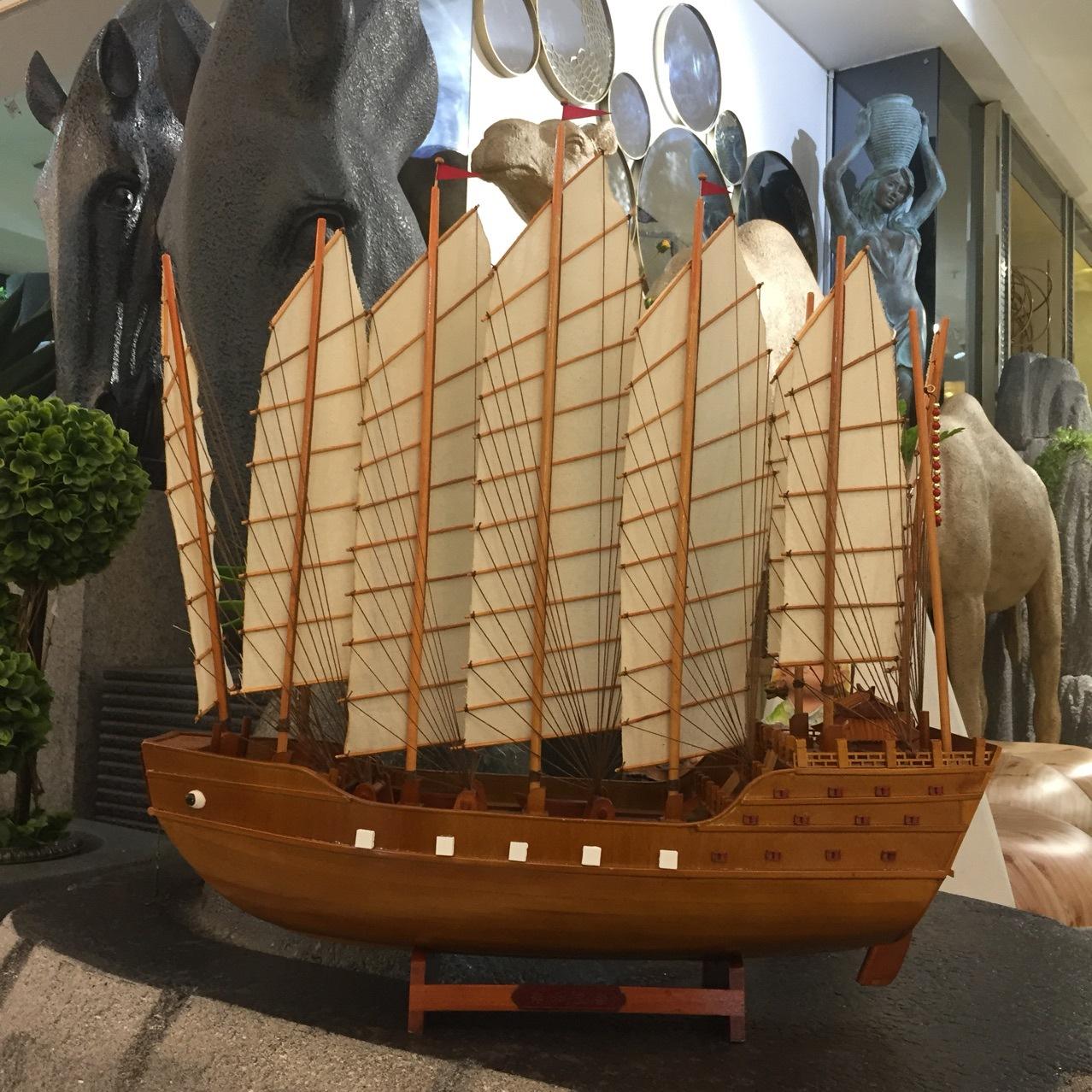 实木郑和宝船纯手工帆船模型中式工艺船家居博物馆展品收藏品礼品