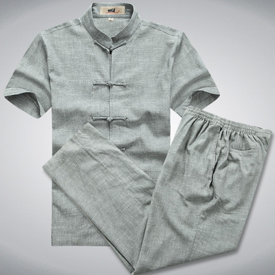 Chinese tang suit shirt for male short sleeve suit linen Tang suit men large Han suit work clothes can be embroidered with logo