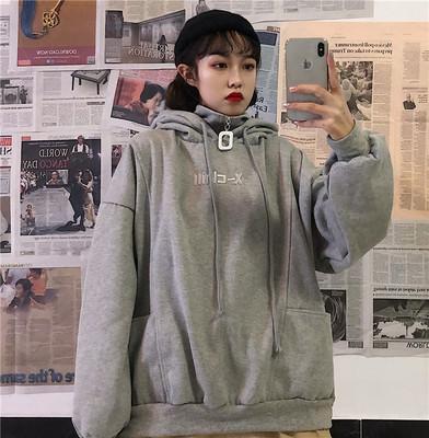 厚度可选 棉质卫衣女2019韩版新款宽松连帽加厚学生上衣女装批发3