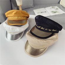 帽?#20248;?#38889;版网红气质平顶海军帽时尚字母贝雷帽英伦复古鸭舌?#36125;?#31179;
