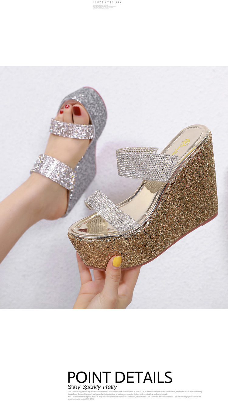 Super high heel wedge with transparent film rhinestone sandals and slippers NHSO142566