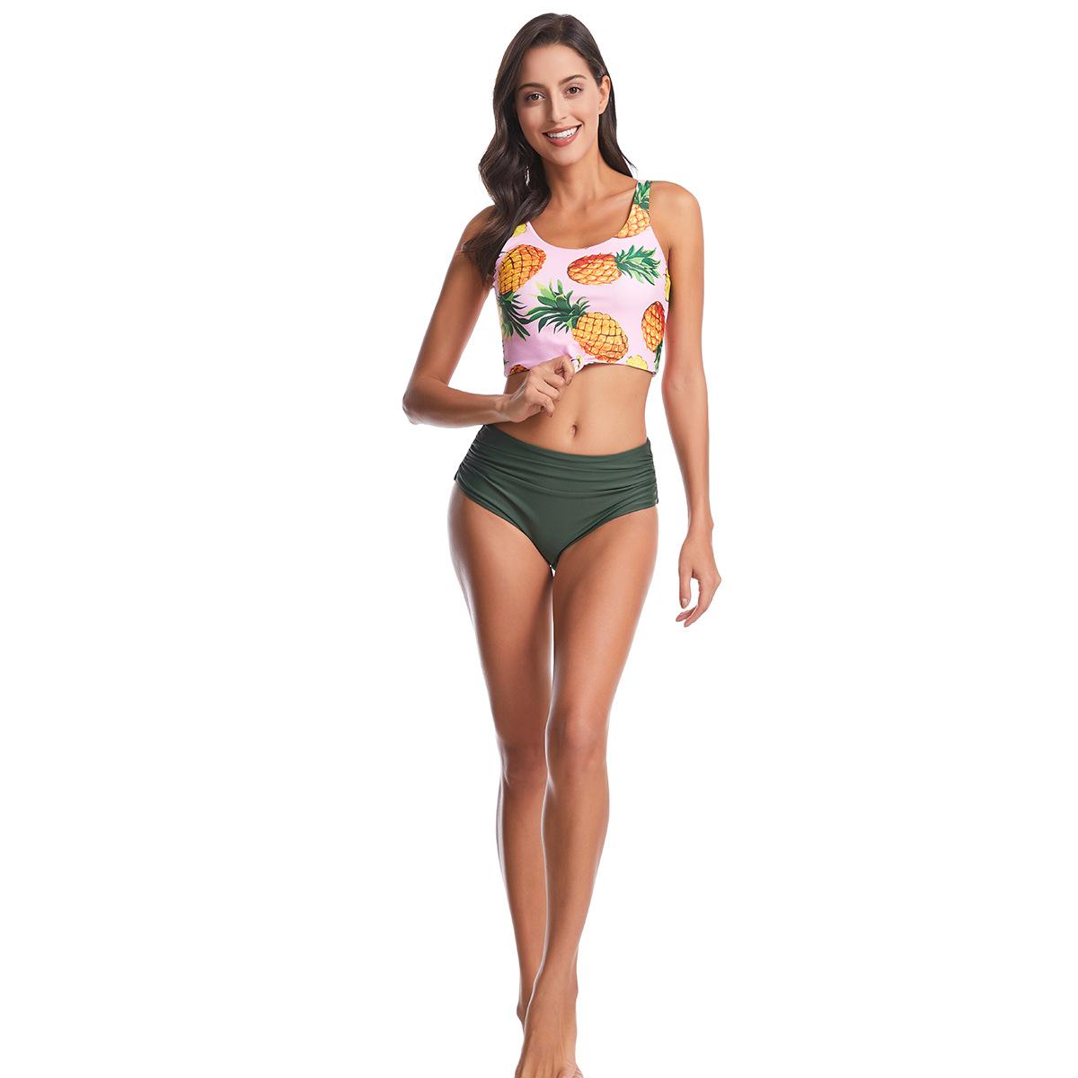 New bikini high waist conservative fruit print pineapple swimsuit Yiwu jewelry supplier NHHL203343