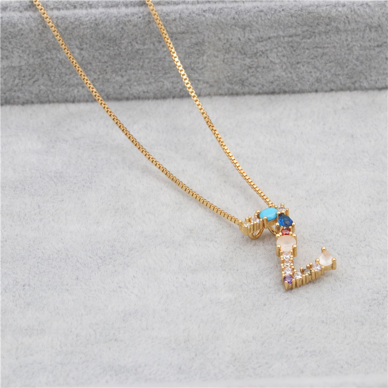 Colored zircon artificial gemstone letter chain necklace NHYL155149