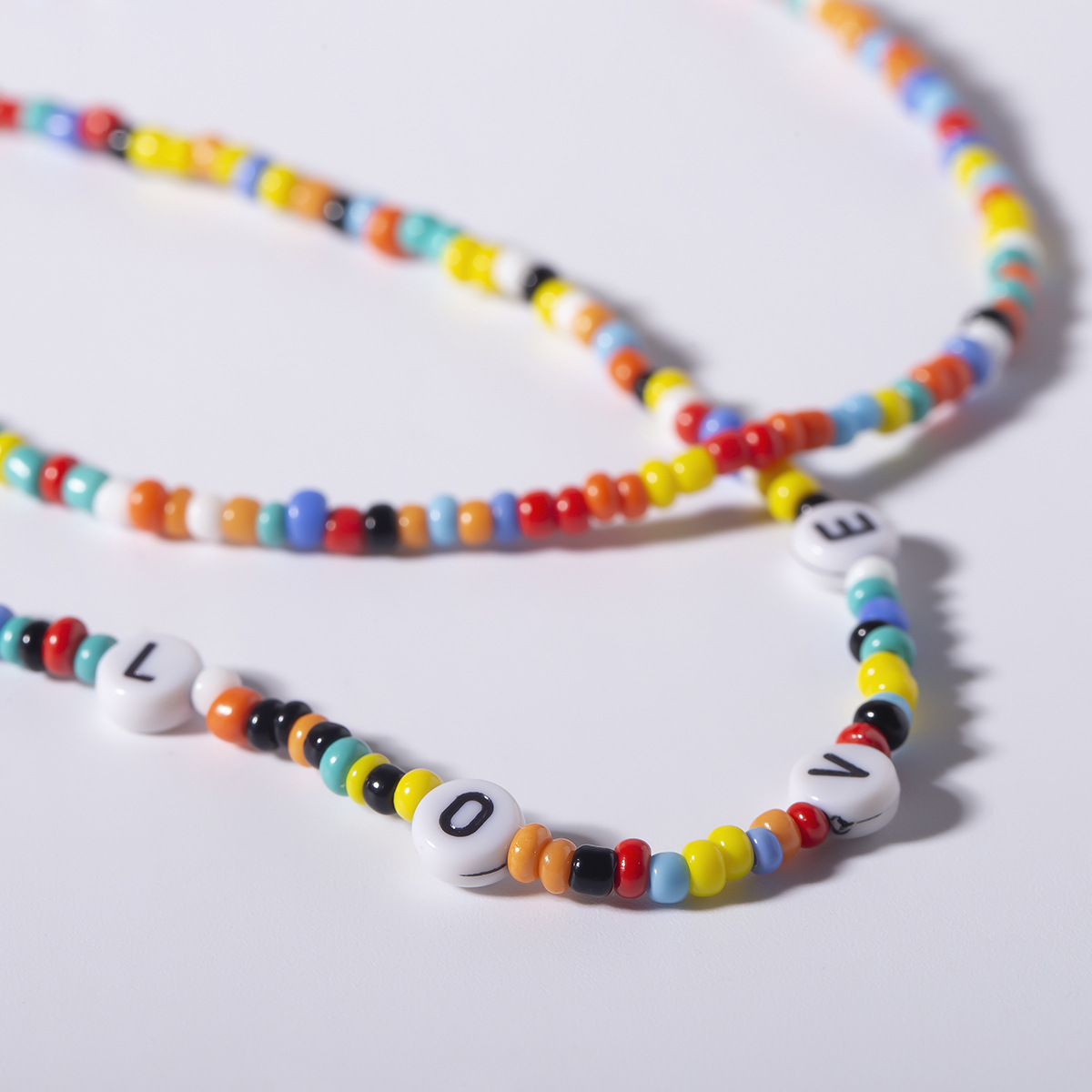 Simple color beige beads letter love necklace NHXR141720