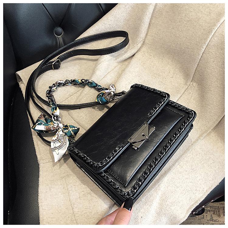 New retro fashion silk scarf chain handbag women wild lock single shoulder messenger small square bag NHPB196903