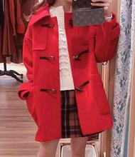 [若凝]DECY秋冬新款牛角扣大衣女大衣 毛呢羊毛 实?#21335;?#36135; 2993