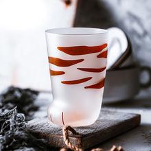 日式創意個性貓爪杯動物爪玻璃杯子耐熱卡通透明貓爪型磨砂玻璃杯