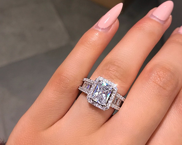 European and American S925 Sterling Silver Zircon Engagement Wedding Ring Ladies Evening Party Jewelry