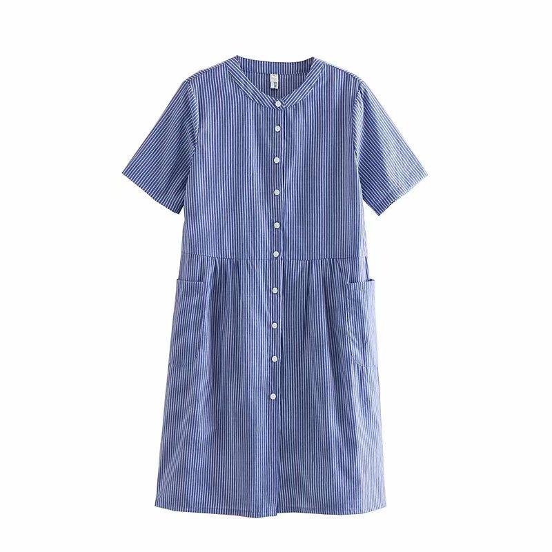 Sumitong eBay summer new European and American stripe loose pocket short sleeve Crew Neck Shirt Dress