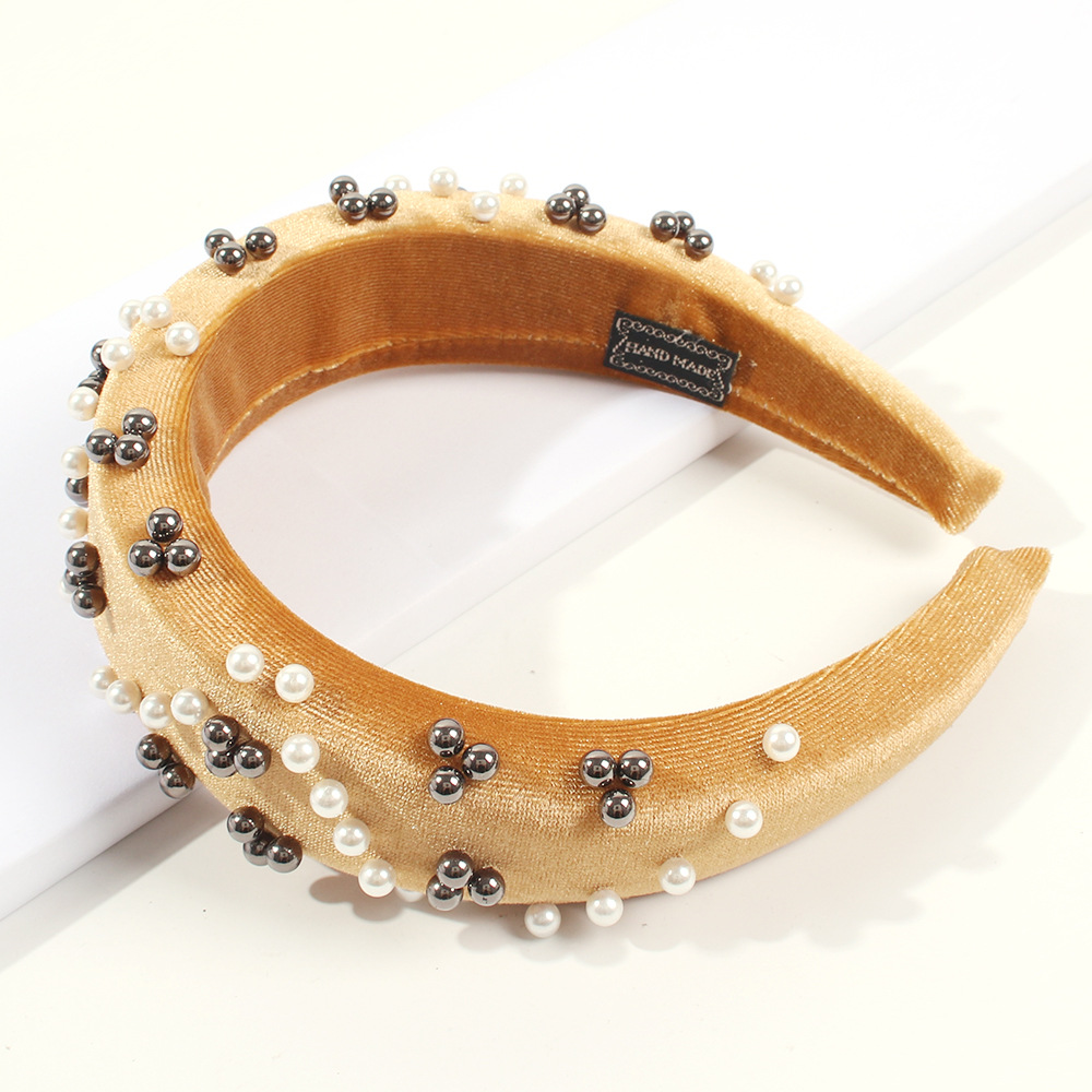 Wide-brimmed solid color corduroy with pearl headband NHMD170276
