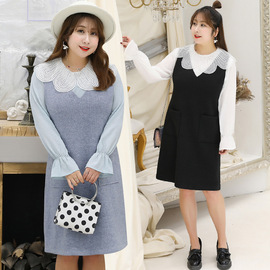 [Xuanchen]  spring new fat sister large size women's temperament gentle wind two-piece set 1629