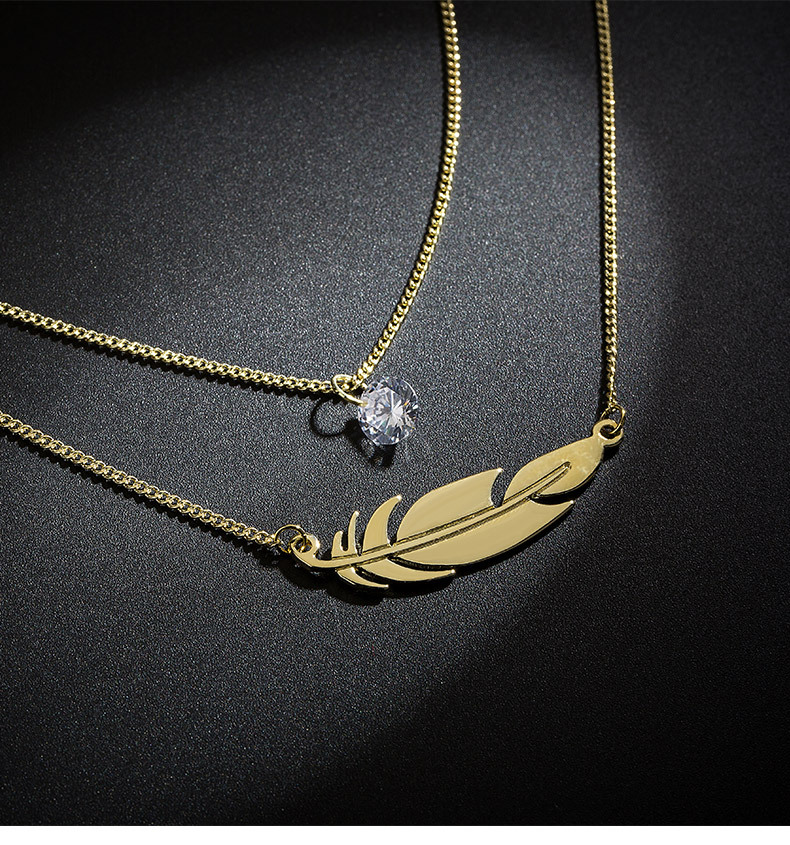 Feather necklace necklace women's short neck strap clavicle chain pendant simple fashion fashion jewelry NHLL181534