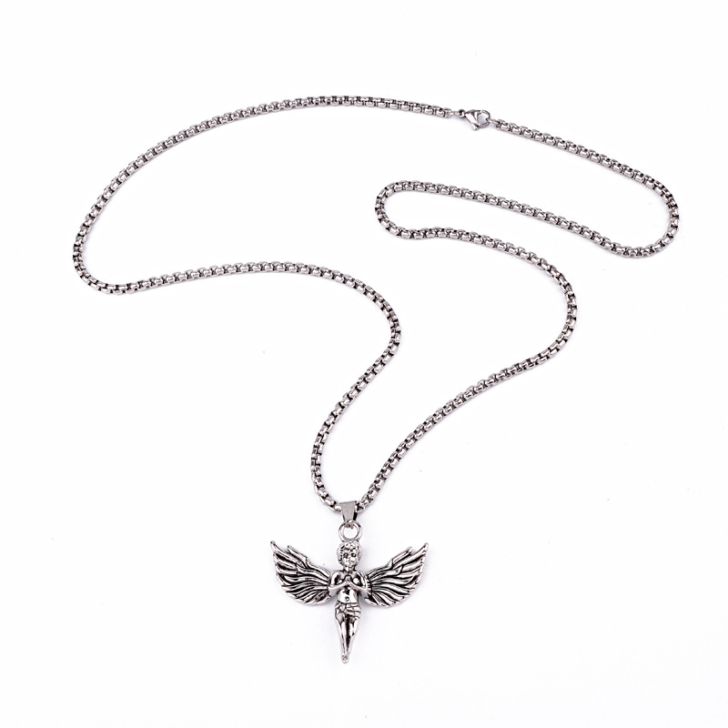 Rock personality angel Cupid wings pendant silver pendant necklace men and women NHGO186508