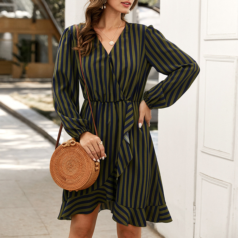 fashion women's striped dress new autumn long sleeve skirt NSKA1342