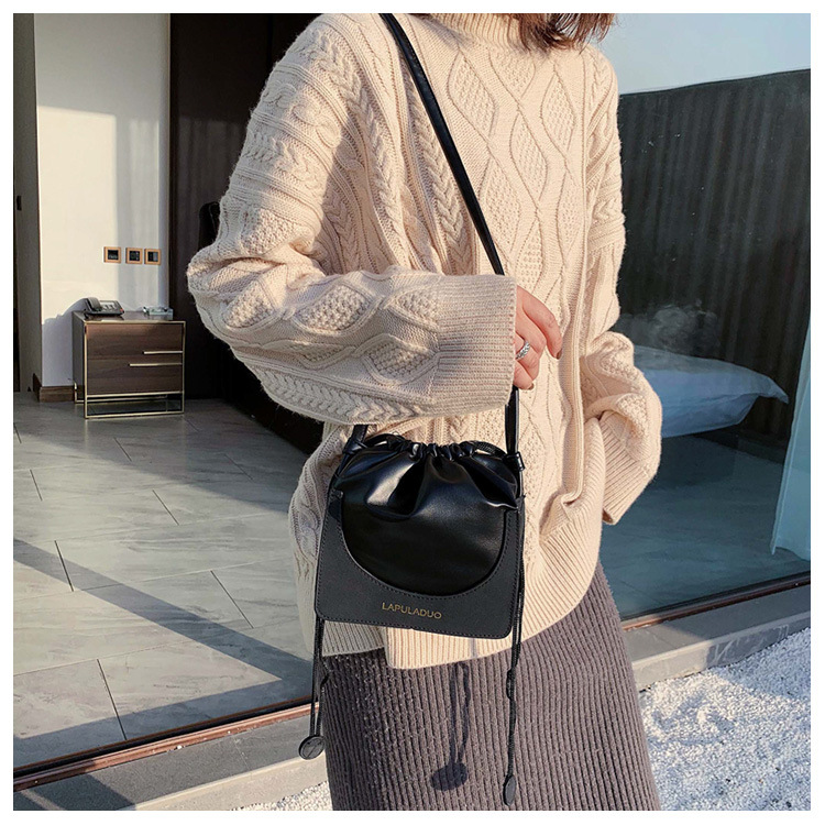 New simple wild frosted drawstring bucket bag fashion stitching shoulder messenger small square bag NHPB196981