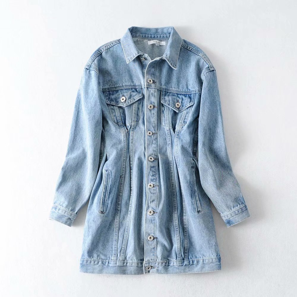 Wholesale Fashion 2019 winter with blue long-sleeved shirt denim dress NHAM177710