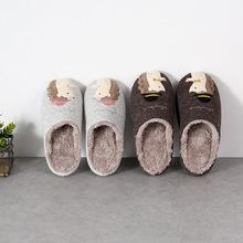 日式秋冬款居家卡通刺猬刺绣室内木地板防水防滑男女情侣棉拖鞋