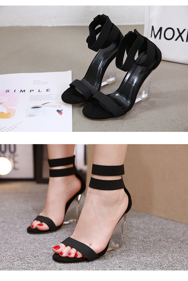 European and American transparent imitated crystal wedge with Roman high heel sandals NHSO147596