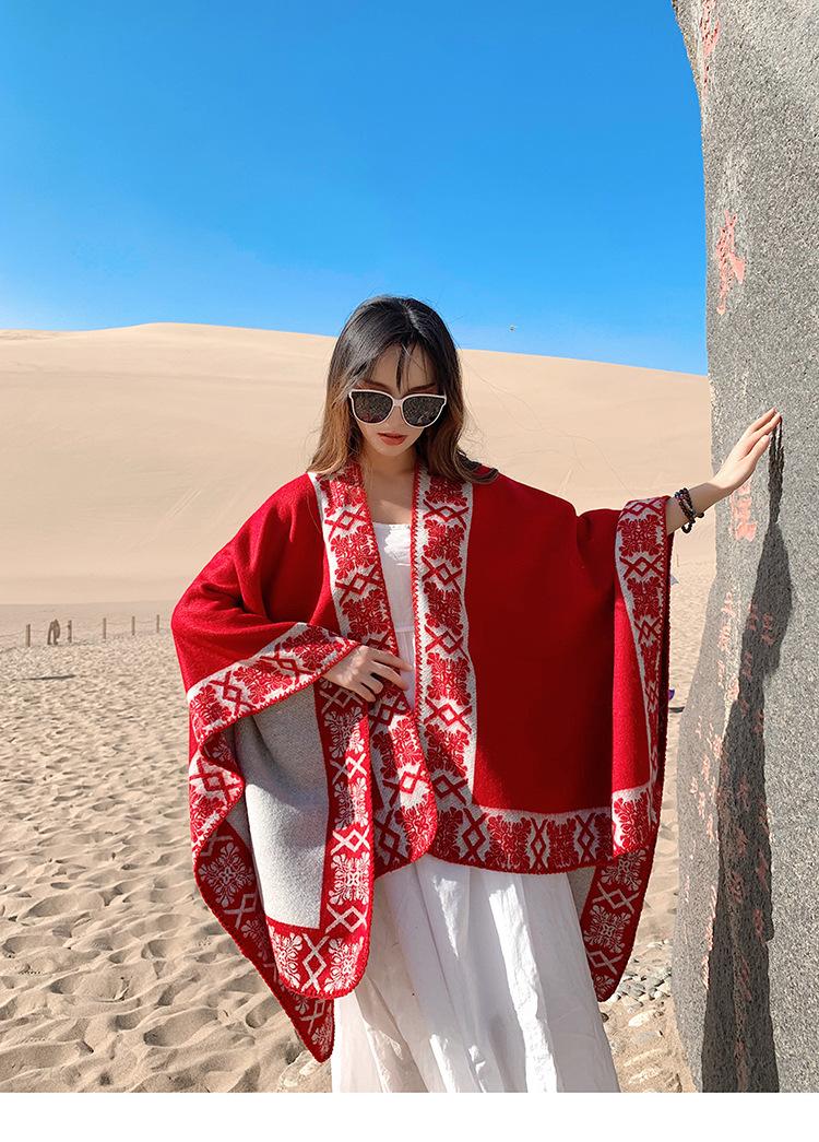 Winter cloak cloak big shawl red desert thick scarf female NHTZ180006
