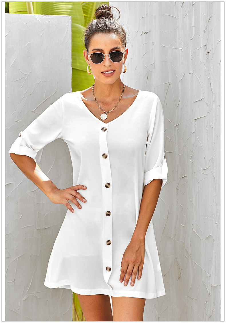 Solid color single breasted high waist A-line five-point sleeves V-neck women's short dress NSSI2462
