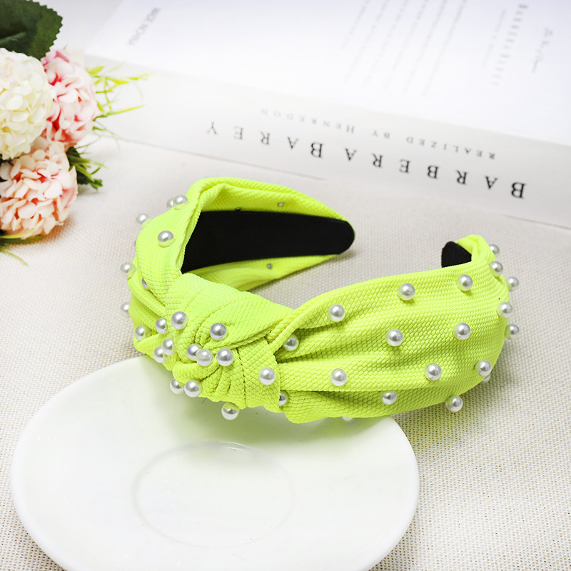 Nail pearl knotted solid color sweet fabric headband NHDM157912