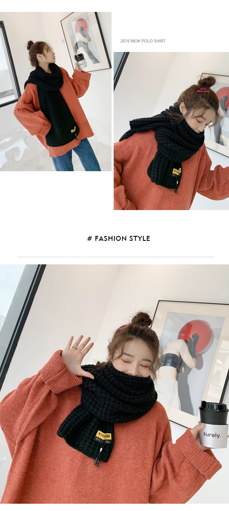 Korean students wild long woolen collar NHTZ157368
