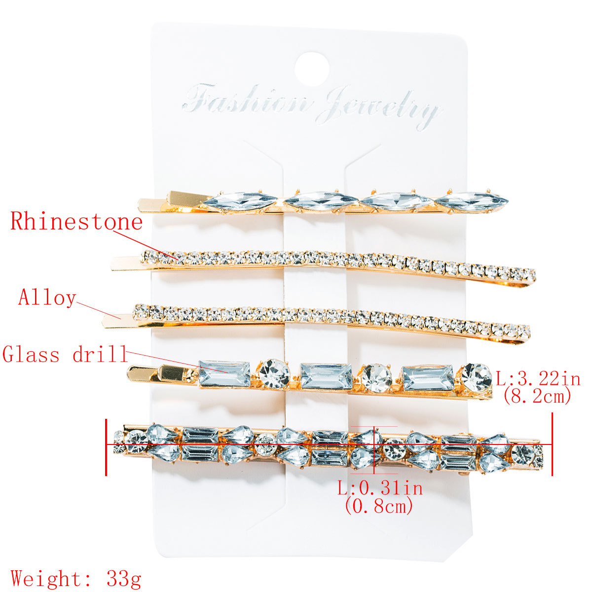 Alloy diamond glass drill rhinestone super flash full drill hair clip set word clip four-piece NHJE174336