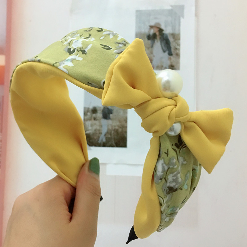 Bow-shaped pearl headband Korean wide edge toothed non-slip contrast color floral hair accessories headband NHRH183244