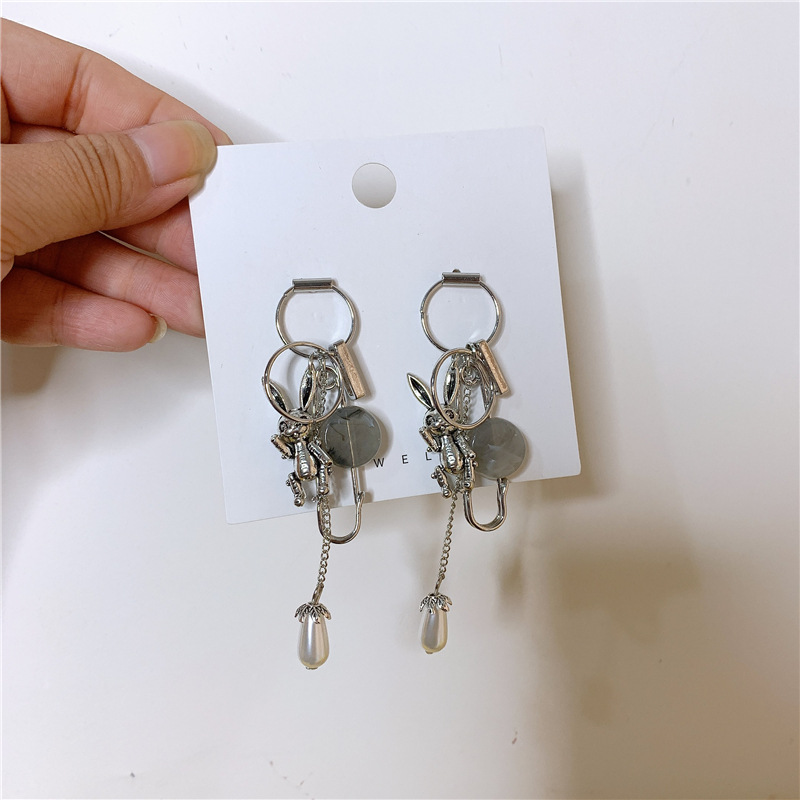 Distressed rabbit animal styling pearl tassel earrings NHYQ152242